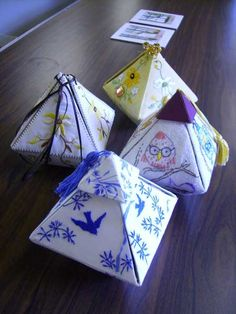 Making Triangular Boxes by Grace Lister - stitchin fingers...make cardboard box from template and decorate how you want.