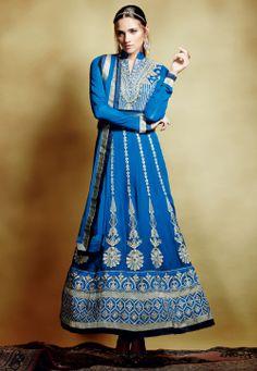 Blue Faux Georgette Semistitched Abaya Style Churidar Kameez @ $165.72