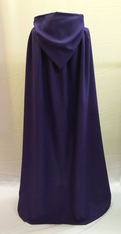 LONG (130cm) PURPLE HOODED UNISEX CAPE CLOAK WITCH PAGAN WIZARD GOTHIC QUEEN