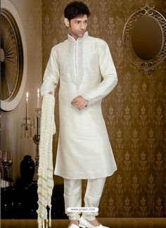 Eye-Catching Off White Art Silk Kurta Pajama Model: YOSHV293