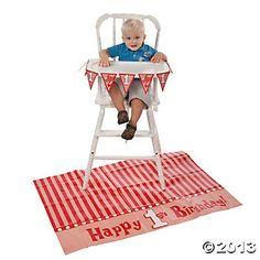 """1st Birthday"" Red High Chair Set"
