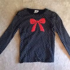 Gymboree bow top. Girls 10. Super cute black and white polka dots with a bright red bow. Like new condition from Gymboree. Girls size 10. Gymboree Tops Tees - Long Sleeve