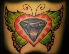The butterfly theme is really cool isn't it? Here's a butterfly, a heart and a diamond. Each has their own design, color palette and feel and yet it all just seems to go together. Diamond Tattoo Meaning, Small Diamond Tattoo, Diamond Tattoo Designs, Diamond Tattoos, Best Tattoo Designs, Diamond Design, Tattoos With Meaning, Diamond Shapes, Finger Tattoos