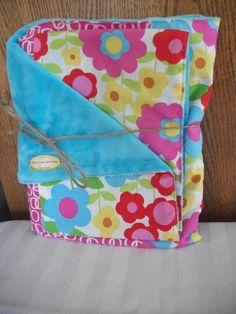 Baby Girl Minky Blanket  Pink, Yellow & Green - $35.00