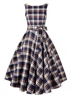 Babyonline Red Crew Neck Audrey Hepburn 1950's Rockabilly Dress Party Gowns