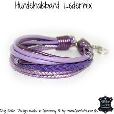 Hundehalsband Ledermix Lila