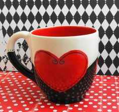 Ceramic Coffee Cup in Black and White with Red Heart