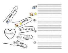 5 finger retell graphic organizer   Retelling hand graphic organizer: elementary