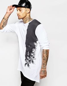 ASOS Rib Jersey Longline Long Sleeve T-Shirt With Abstract Print