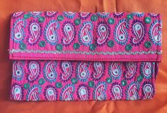 Pink paisley hand embroidered mirrored clutch by SaheliDesigns