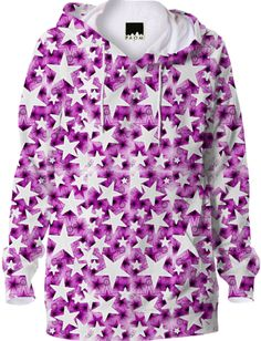 Pink White Stars Hoodie from Print All Over Me