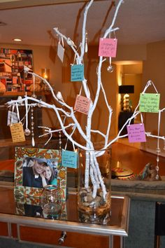 I like this wish tree project. It's easy to make and can be as elaborate as you'd like. Guest write wishes and places them on the tree during your party.