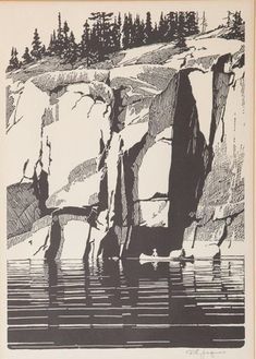 Francis Lee Jaques - Under the Cuffs at Crooked Lakes; Medium: relief print; Dimensions: 35.56 X 25.4 cm.