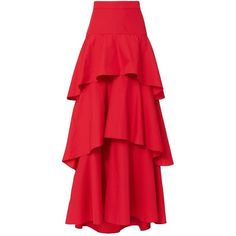 MDS Stripes Women's Tiered Skirt (€585) ❤ liked on Polyvore featuring skirts, red, ankle length skirt, red cotton skirt, maxi skirt, long skirts and red tiered skirt