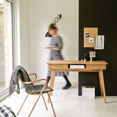 Scrivania in acacia Oslo Oslo, Wood Office Desk, Office Decor, Simple Desk, Large Desk, Best Desk, Wooden Desk, Vintage Stil, Storage Spaces
