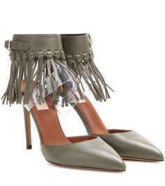Valentino - C-Rockee fringed leather sandals - These fringed beauties from Valentino are at the top of everybody's wish lists. We love the clever construction, which features a transparent insert elevating the ankle strap that's artfully adorned with statement tassel detailing. The sleek pointed toe and soft grainy leather ensure a look that's sophisticated, luxe and firmly on point for the new season. seen @ www.mytheresa.com