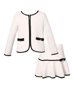 Another great find on #zulily! White Jacket & Skirt - Toddler & Girls by Richie House #zulilyfinds