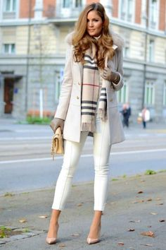 Winter Street Style Fashion -Chambray Cashmere Scarf - The Chic Find