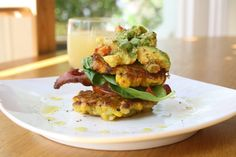 Corn Fritters With Crispy Bacon, Roasted Tomatoes