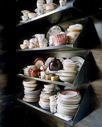 Food artist J. Morgan Puette: open-shelf dish displays.