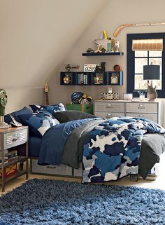 khaki gray kids' bedroom - thunder AF-685 (walls), hale navy HC-154 (trim),  simply white OC-117 (accent) @Benjamin Moore