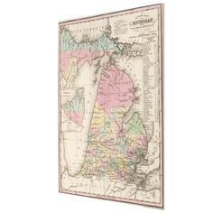 Vintage Map of Michigan (1836) Canvas Print