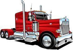 Alot of people like this design that i got printed on some t-shirts. Big Rig Trucks, Semi Trucks, Cool Trucks, Peterbilt 379, Peterbilt Trucks, Truck Art, Car Drawings, Automotive Art, Tractors
