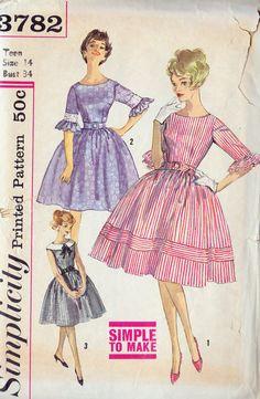 1950s Teen Full Skirt Party Dress