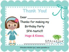Free Printable Spa Party Thank You Card by SPAradise Mobile Spa