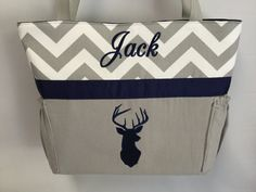 Personalized   ...   DEER  Silhouette  .. DIAPER Bag .. Applique   ... Bottle Pockets by TweedleTotes on Etsy