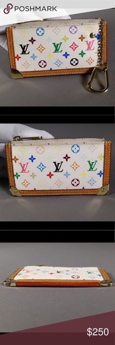 Louis Vuitton Multi-Color Key Cles/ Coin Purse *Ships same or next day* *Reasonable offers welcome*   - Date Code: CA0073 - No longer available in stores!  - Brass colored hardware shows fading/ signs of use - Outside vachetta has turned a nice honest color with little to no water marks/ stains noticed - Inside has some creasing/ signs of use towards the top edges/ corners but overall clean - NO stickiness or peeling inside!  - Zipper and clasp work properly Louis Vuitton Bags Clutches…