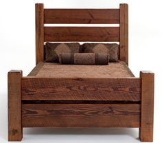 Sometimes you can not beat the simplicity of reclaimed barnwood planks and barnwood posts.  This barnwood bed design creates beauty from simplicity.  Character ridden boards are used in the headboard and footboard.  The vertical bed posts have over 100 years of character.   Each dent or blemish represents the growth of this great country.  By