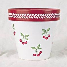 Flower pot stencil from The Stencilled Garden Collection. Paint Garden Pots, Painted Plant Pots, Painted Flower Pots, Painted Pebbles, Pottery Painting Designs, Cherry Flower, Decorated Flower Pots, Flower Pot Design, Terracotta Flower Pots
