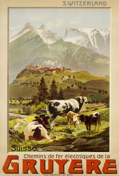 """Chemins de fer électriques de la Gruyère, Switzerland (Reckziegel Anton / 1906) Beautiful poster for the """"Gruyère Land"""" in Switzerland showing the region and the village of Gruyère in a romantic turn of the century style. The cows of this region are known for they creamy milk used for desserts and cheese. Anton Reckziegel is the best travel poster designer of Switzerland during the turn of the century. This classic and rare travel poster is finely printed by stone-lithography by Hübacher in…"""