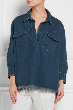 Chloé | Oversized frayed denim shirt | NET-A-PORTER.COM