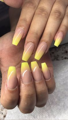 Nails Yellow Babyboomer 16 Ideas For 2019 Red Sparkly Nails, Yellow Nail Art, Neon Yellow Nails, Red Ombre Nails, Cute Nails, Pretty Nails, My Nails, Ombre Nail Designs, Nail Art Designs