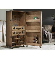 Mueble bar armario con ruedas industrial