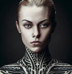 Tribal neck tattoo - Teya Salat by Daniil Kontorovich