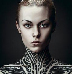 Tribal neck tattoo - Teya Salat by Daniil Kontorovich