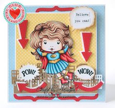 From our Design Team! Card by Alexandra Morein featuring Club La-La Land Crafts January 2016 exclusive Super Hero Marci, Believe You Can stamp set and these Dies - Skyline Border, Bursts (set of 3), Bracket and Arrows (set of 3) :-) Club La-La Land Crafts subscription details are here - http://lalalandcrafts.com/Club_La-La_Land_Crafts.html  Coloring details and more Design Team inspiration here - http://lalalandcrafts.blogspot.ie/2016/02/club-la-la-land-crafts-january-2016-kit.html