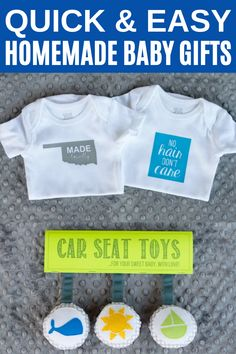 My latest favorite baby gift to give are these cute little onesies with iron-on shapes and phrases!  You can come up with so many fun ways to customize them.  I also decided to create a little tag to add to my Stuffed Car Seat Toys, which is also a quick gift to make. #babygifts #babyshower