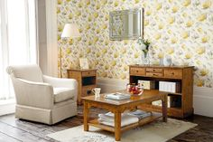 Hydrangea Camomile from the Laura Ashley wallpaper collection. Living Room Decor, Living Spaces, Living Rooms, Mid Century Decor, Laura Ashley, Hydrangea, Wallpaper, Table, Corner