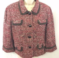 Talbots Red Brown Tweed Jacket Blazer Ladies Size 14 Wool  Leather Buttons EUC #Talbots #Blazer