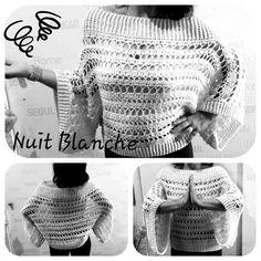 Nuit Blanche Ponchopulli macht jeder Frau eine tolle Figur :-) Poncho Pullover, Crochet Top, Crochet Hats, Wide Leg Jeans, Legs, Front Button, Barbie, Pockets, Design