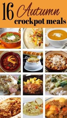 16 Autumn Crock Pot Recipes - I'm sure I can make the non-vegetarian ones fit our diet with some changes....