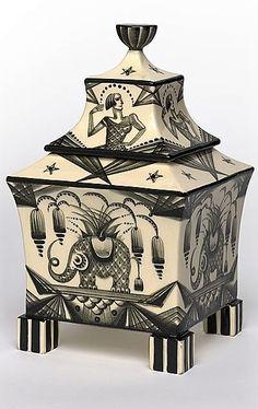 Dagobert PECHE  Austria 1887 – 1923  designer  VEREINIGTE WIENER UND GMUNDNER KERAMIK  Vienna, Austria commenced 1913 – 1932  manufacturer (organisation)  Jar with lid c.1918