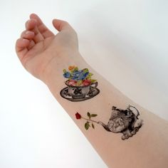 Vintage Temporary Tattoo - Floral, Flower, Colorful, Tea pot, Teacup, Flowers, Set of 2 by Siideways on Etsy https://www.etsy.com/listing/229388773/vintage-temporary-tattoo-floral-flower