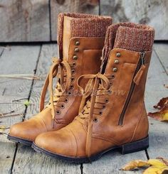 gotta have Casual Lace-Up Zipper Flat Boots Cute Boots 959b263d4