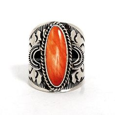 Sterling Silver with Spiny Oyster Shell Navajo Ring by Derrick