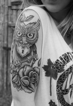 owl tattoo half sleeve ideas. love this but switch it up a little and add some color!